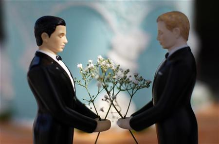 A same-sex wedding cake topper is seen in Los Angeles