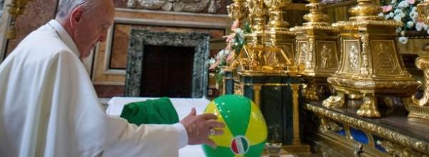 Pope Beach Ball on Altar