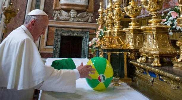 Pope Beach Ball on Altar