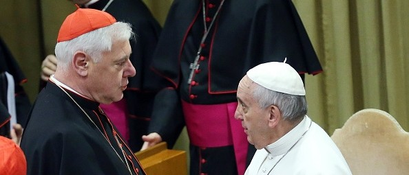 "Cardinal Muller chats with the ""active"" member of the Petrine ministry"
