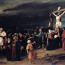 BAL49154 Christ on the Cross, 1884 (oil on canvas) by Munkacsy, Mihaly (1844-1900); 460x712 cm; Deri Muzeum. Debrecen, Hungary; (add.info.: also known as 'Golgotha'; part of a triptych, other 2 panels in Deri Muzeum and Art Gallery of Hamilton, Ontario;); Hungarian,  out of copyright