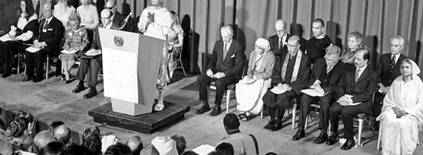 """Spiritaul teacher"" Sri Chinmoy opens the first International Interfaith Conference at the UN in 1975. Mother Teresa can be seen on the front row, right side of the photo, second from the podium."