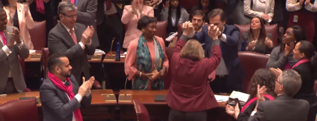 "Legislators celebrate the passing of New York's so-called ""Reproductive Health Act"""